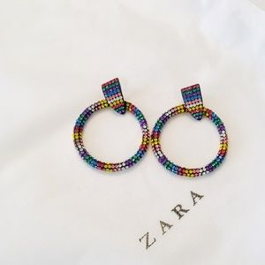 Zara rainbow crystal hoop earrings